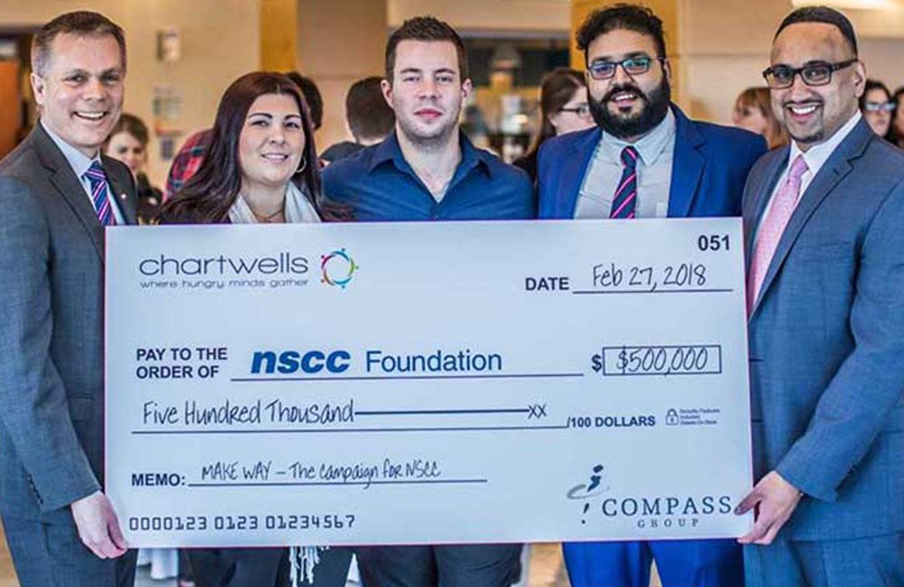 chartwells cheque presentation to nscc foundation