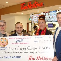 tim hortons cheque presentation to food banks canada