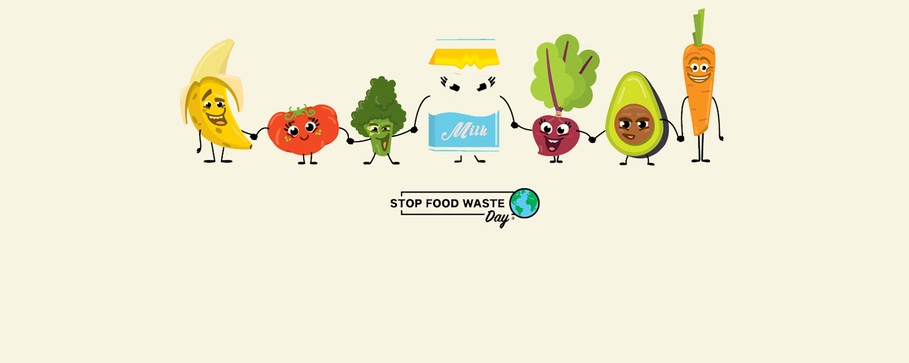 cartoon veggies fighting food waste